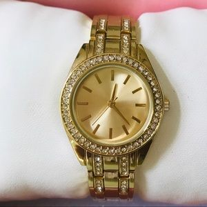 Goldtone Watch Simulated Pavé Diamond Accents